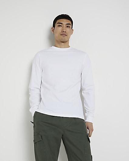 White stepped hem cuff slim fit t-shirt