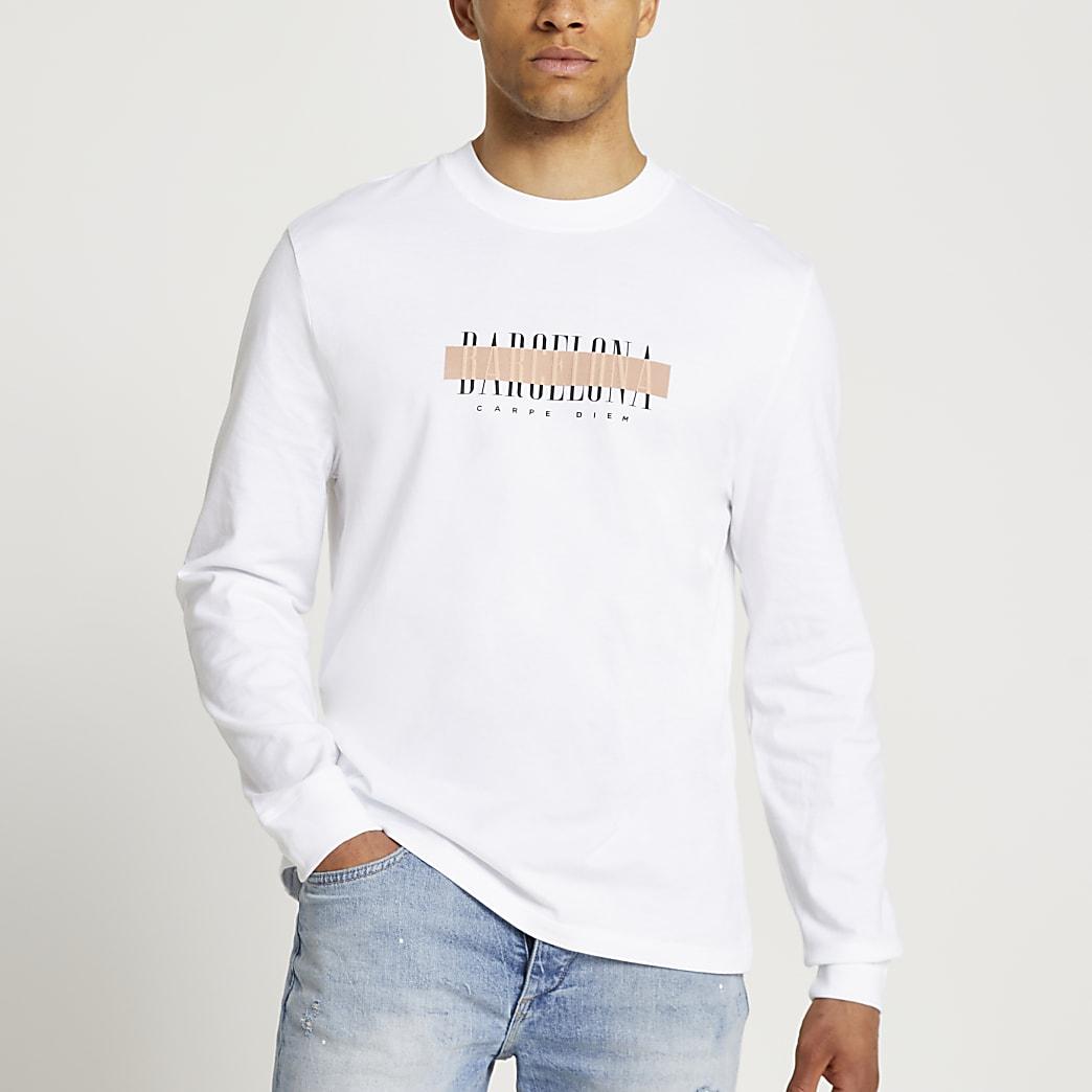 White Stockholm long sleeve t-shirt