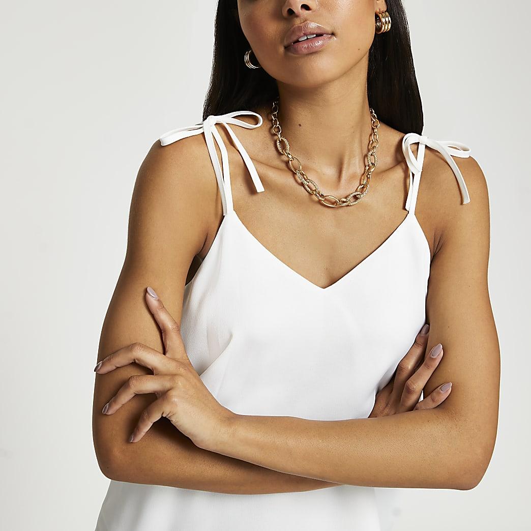 White strappy v neck cami top