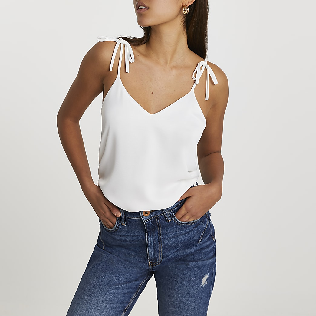 White strappy v neck cami