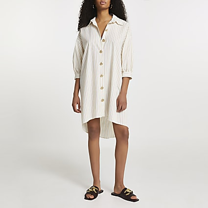 White stripe button dow oversized shirt dress