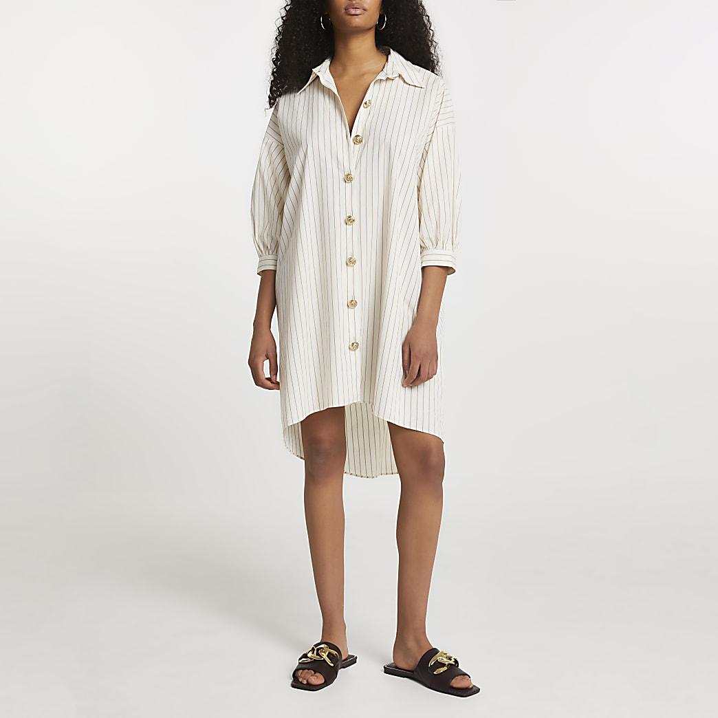 White stripe button dow oversized shirt dress