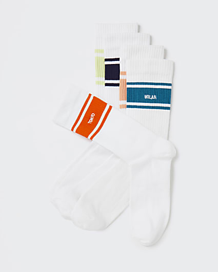 White stripe city socks 5 pack