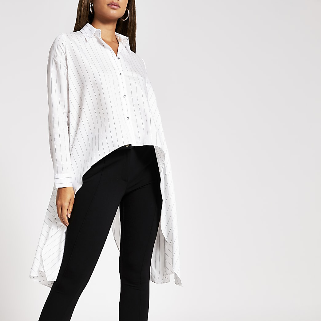 White stripe frill asymmetrical shirt