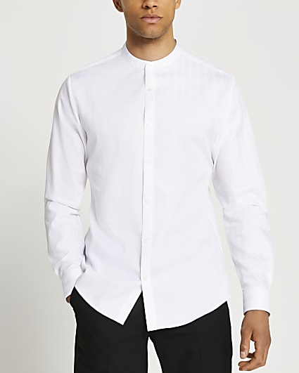 White stripe grandad collar long sleeve shirt
