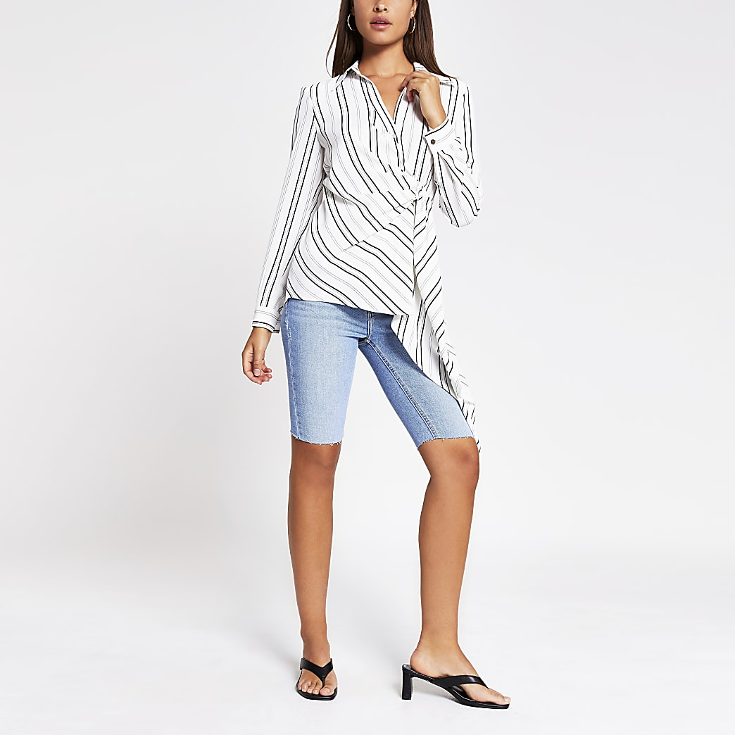 White stripe long sleeve shirt