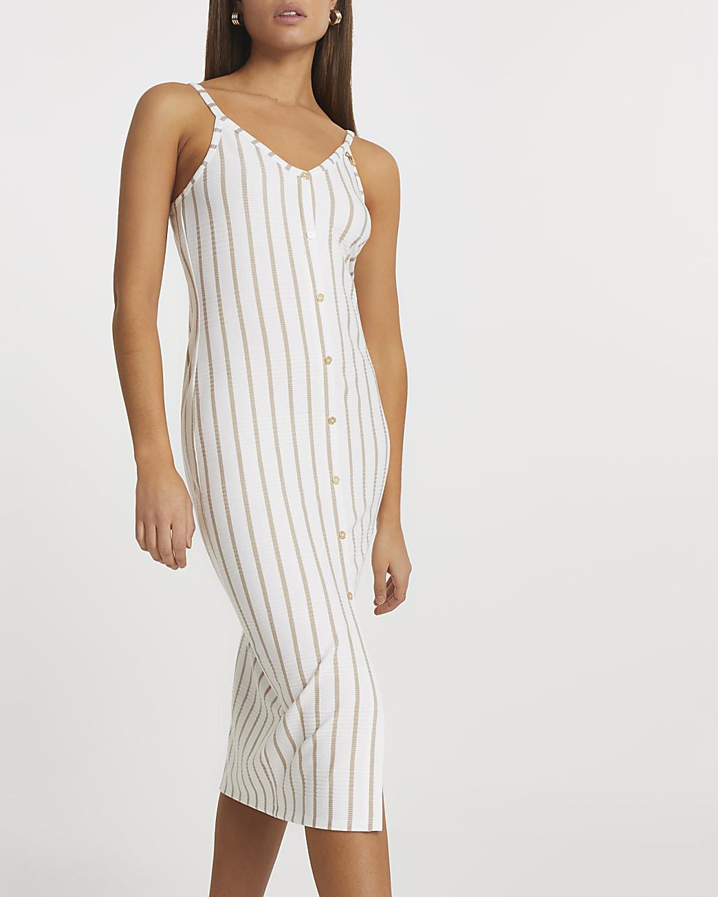 White stripe midi dress