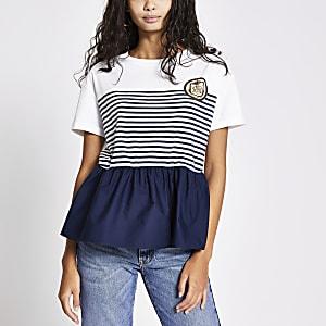 T-shirt avec ourlet péplum et rayures blanc