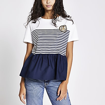 White stripe peplum hem T-shirt