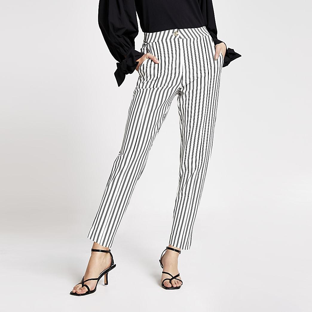 White stripe ponte cigarette trousers