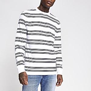 White stripe slim fit long sleeve T-shirt