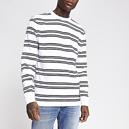 White stripe slim fit long sleeve T-shirt