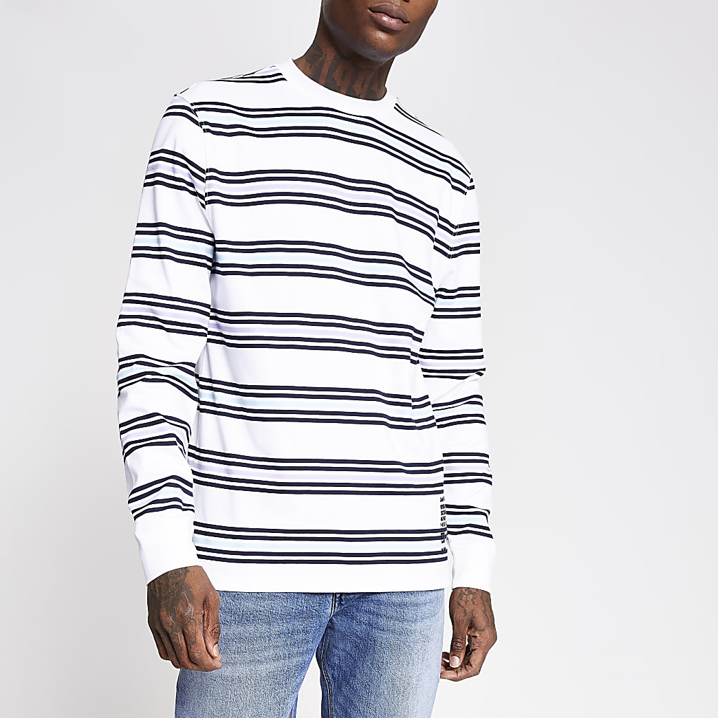 Wit gestreept slim-fit T-shirt met lange mouwen