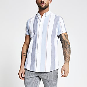 Weißes Slim Fit Oxford-Hemd mit Streifenmuster