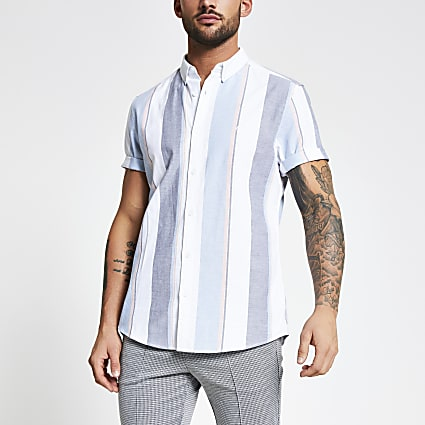 White stripe slim fit Oxford shirt