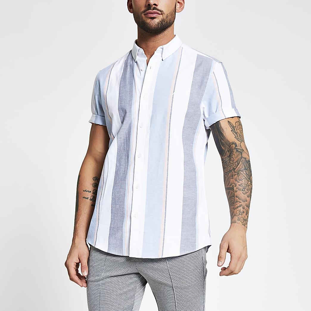 Wit gestreept slim-fit Oxford overhemd