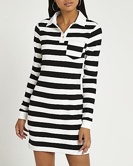 White stripe sweatshirt dress