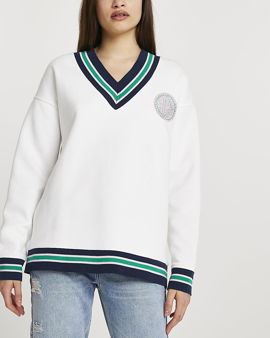 White stripe tape badge chest sweatshirt