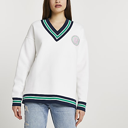 White stripe tape badge chest sweatshirt