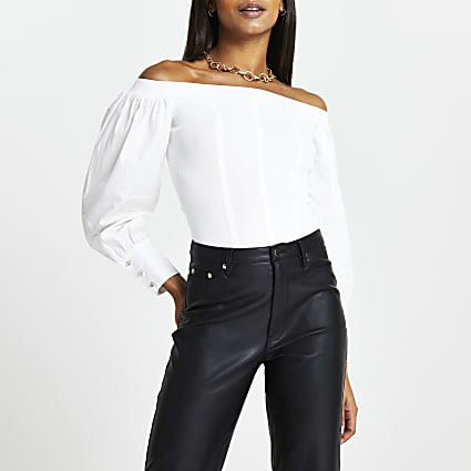 White structured bardot neck top