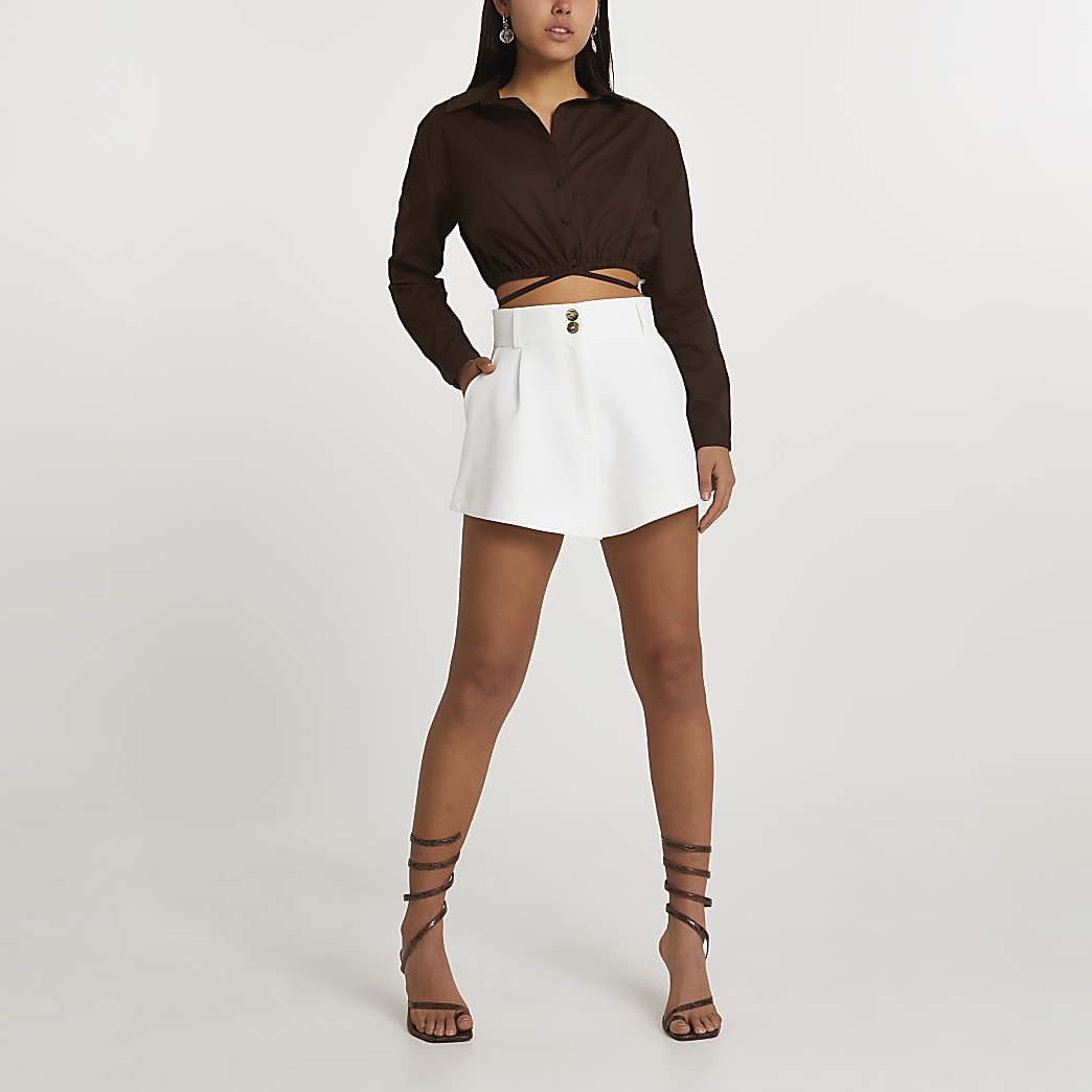 White structured shorts