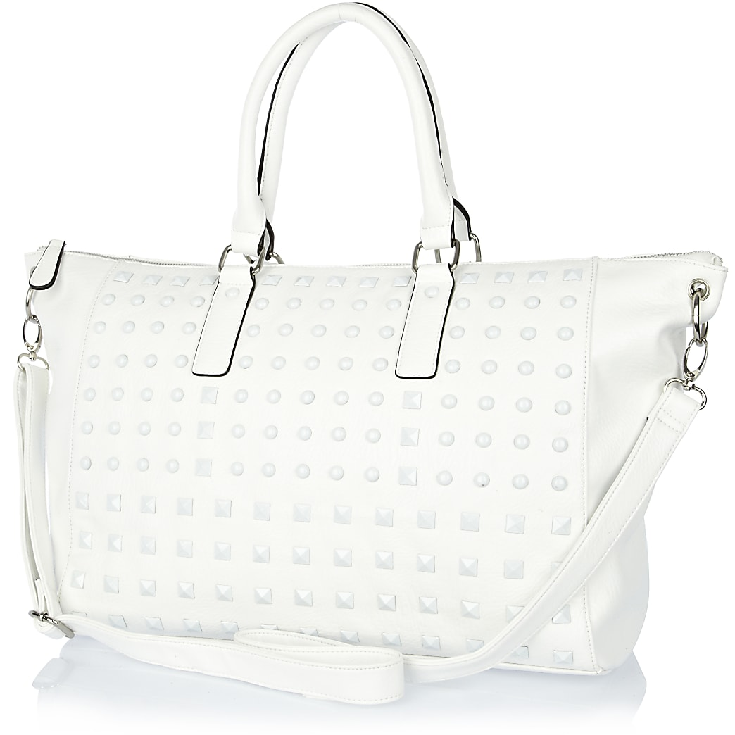 White stud holdall bag