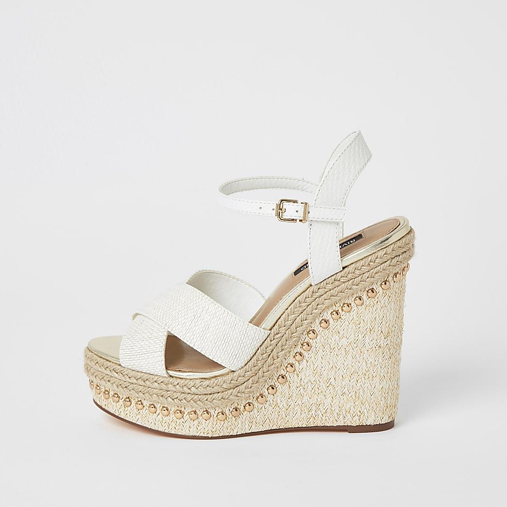 White studded cross strape wedge sandals
