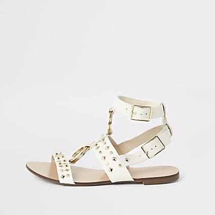 White studded gladiator sandals
