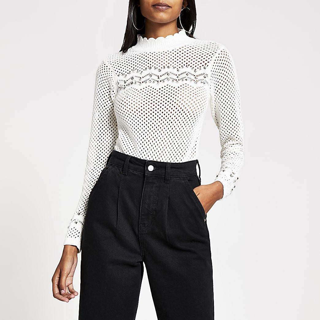White studded long sleeve knitted jumper