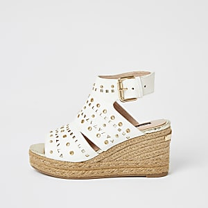 White studded open toe wedge sandals