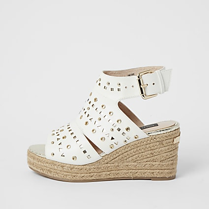 White studded open toe wide fit wedge sandals