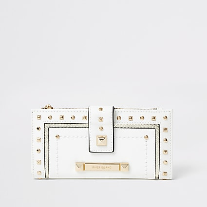 White studded tab top purse