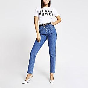 White 'Super power' short sleeve T-shirt