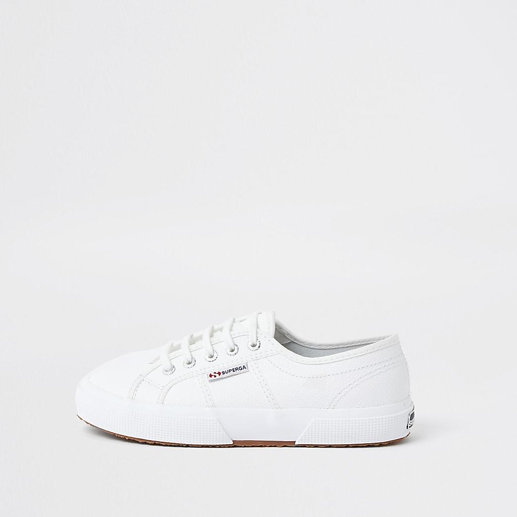 White Superga classic leather runner