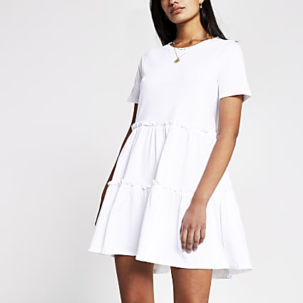 White T shirt Tiered Smock Dress