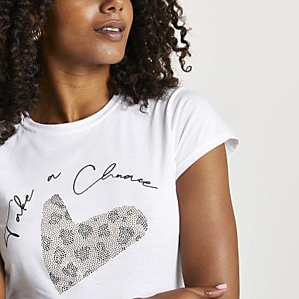 White 'Take a Chance' heart print t-shirt