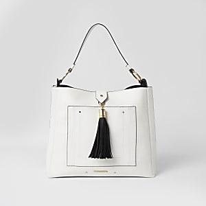 Weiße Quasten-Beuteltasche mit Fronttasche