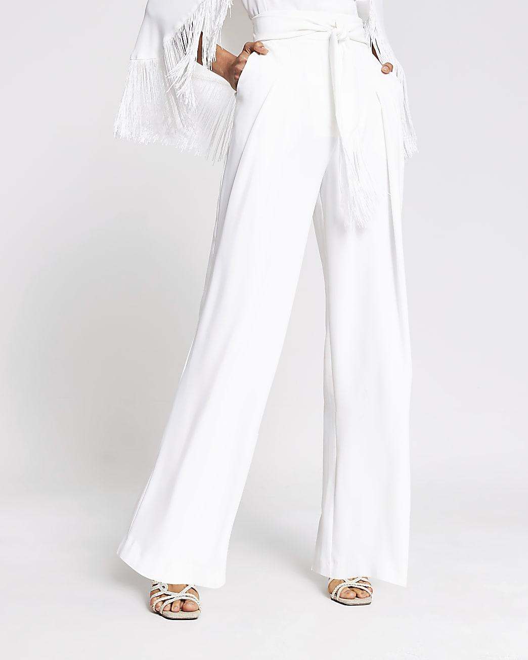 White tassel tie waist wide leg trousers