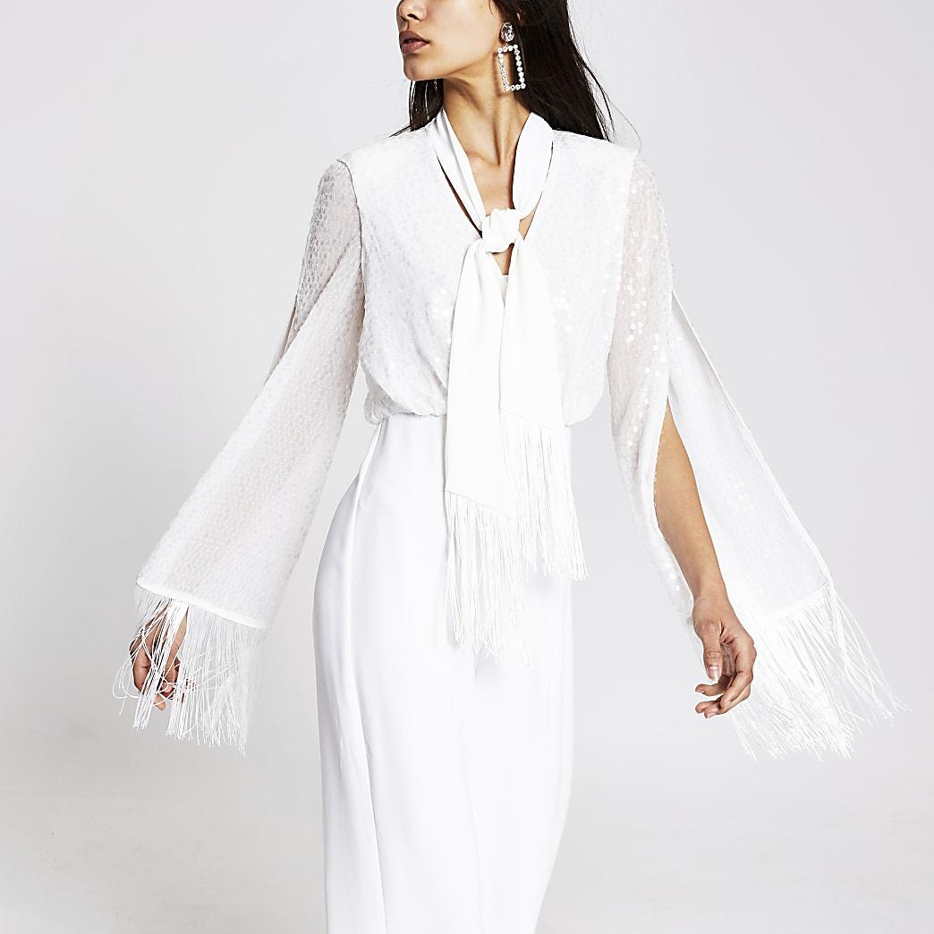 White tassel trim jumpsuit
