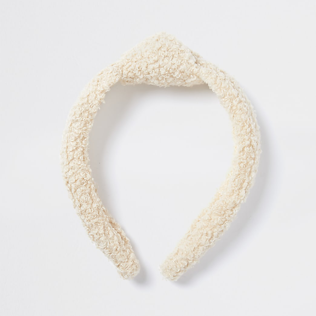 White teddy knot aliceband