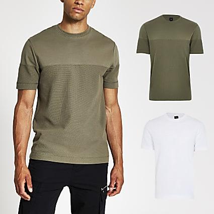 White textured block slim fit T-shirt 2 pack