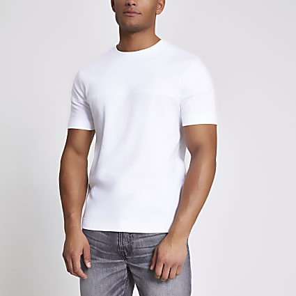 White textured blocked slim fit T-shirt