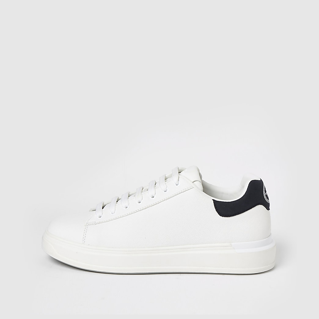 White textured lace-up wedge sole trainers