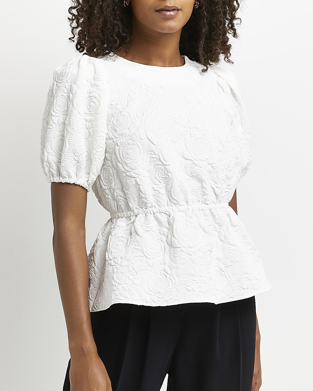 White textured peplum top