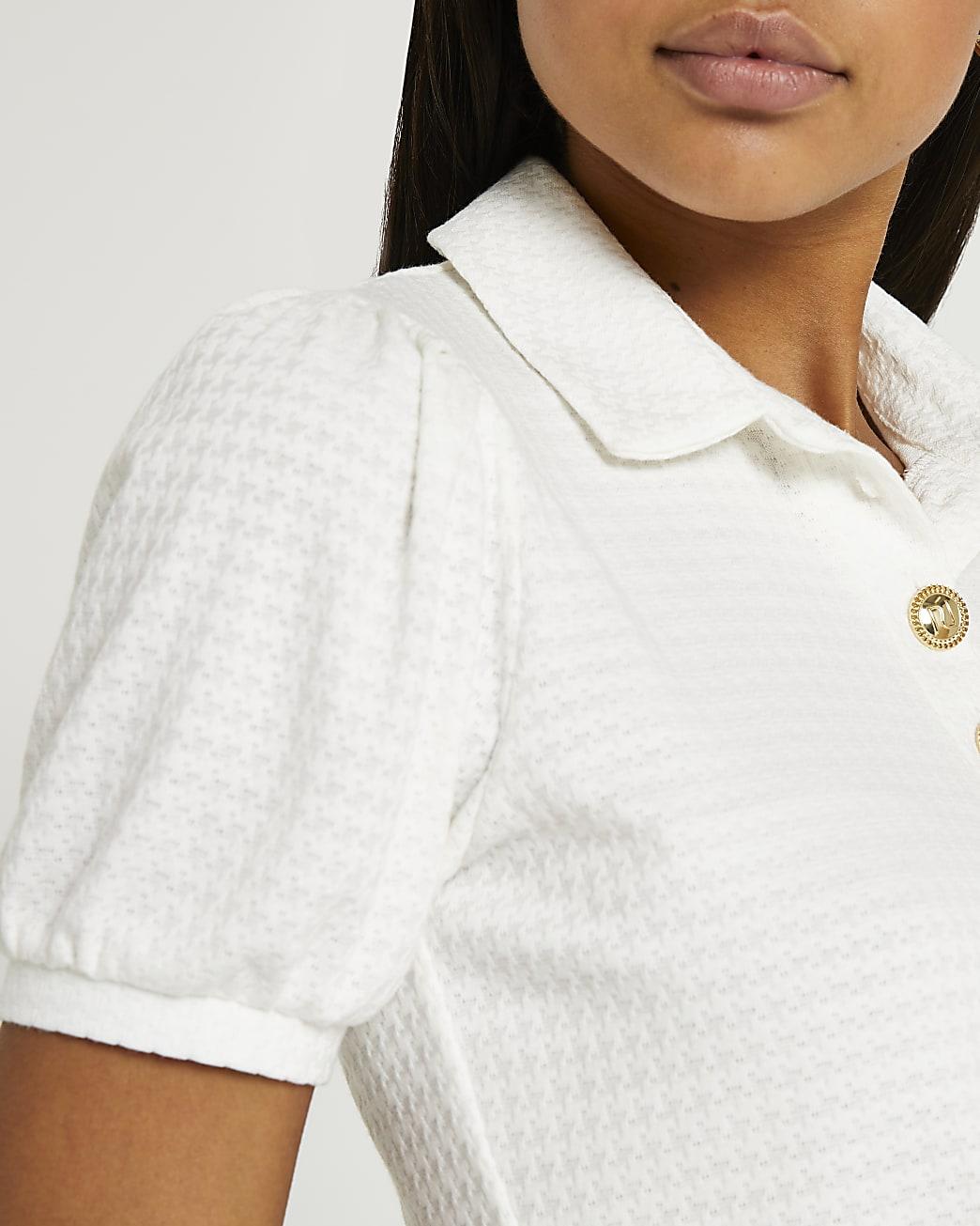 White textured puff short sleeve polo shirt