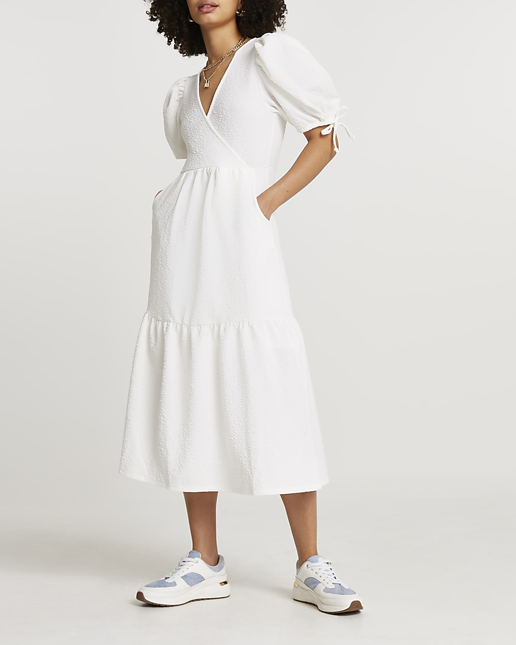 White textured puff sleeve wrap midi dress