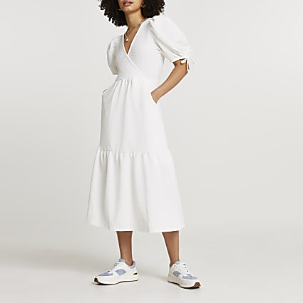 White textured puff sleeve wrap midi dress