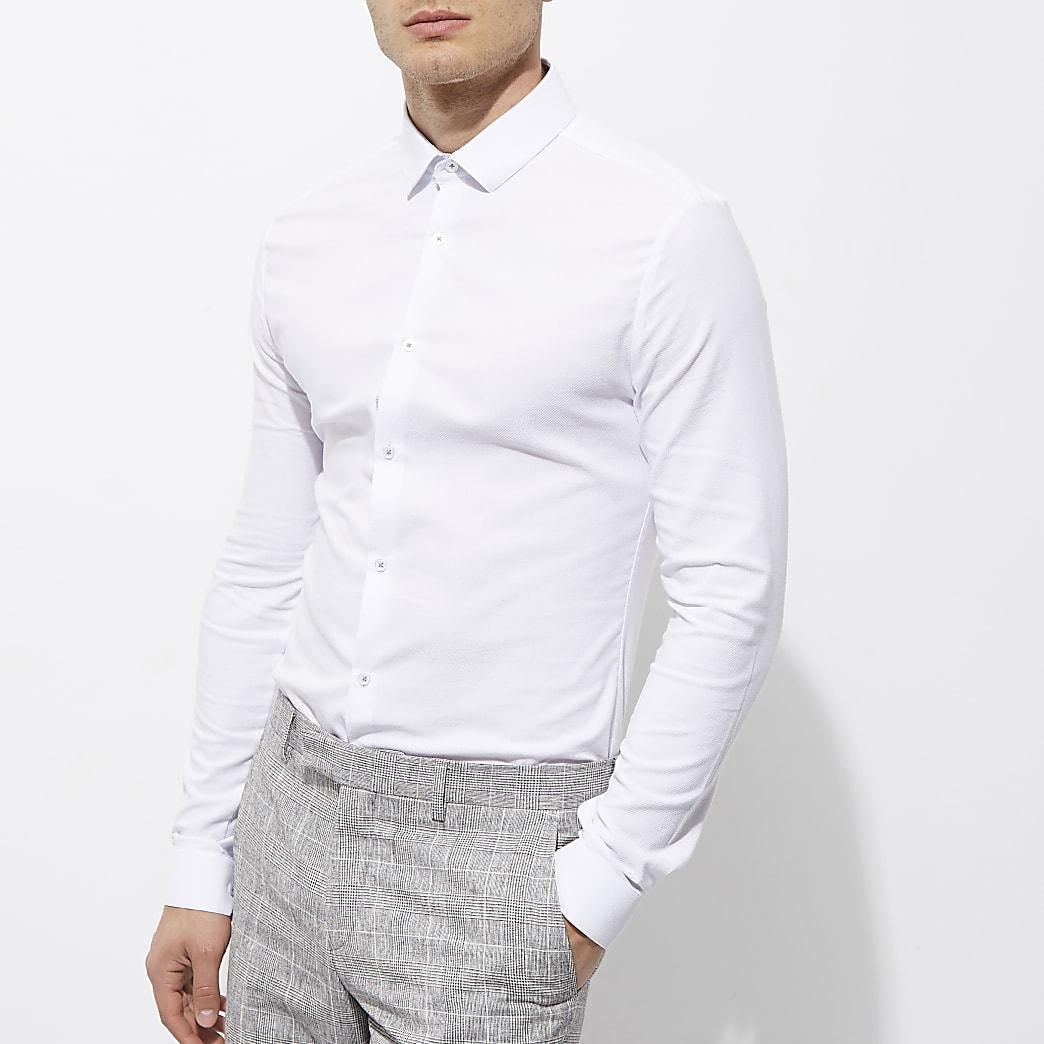 White textured semi cutaway skinny fit shirt