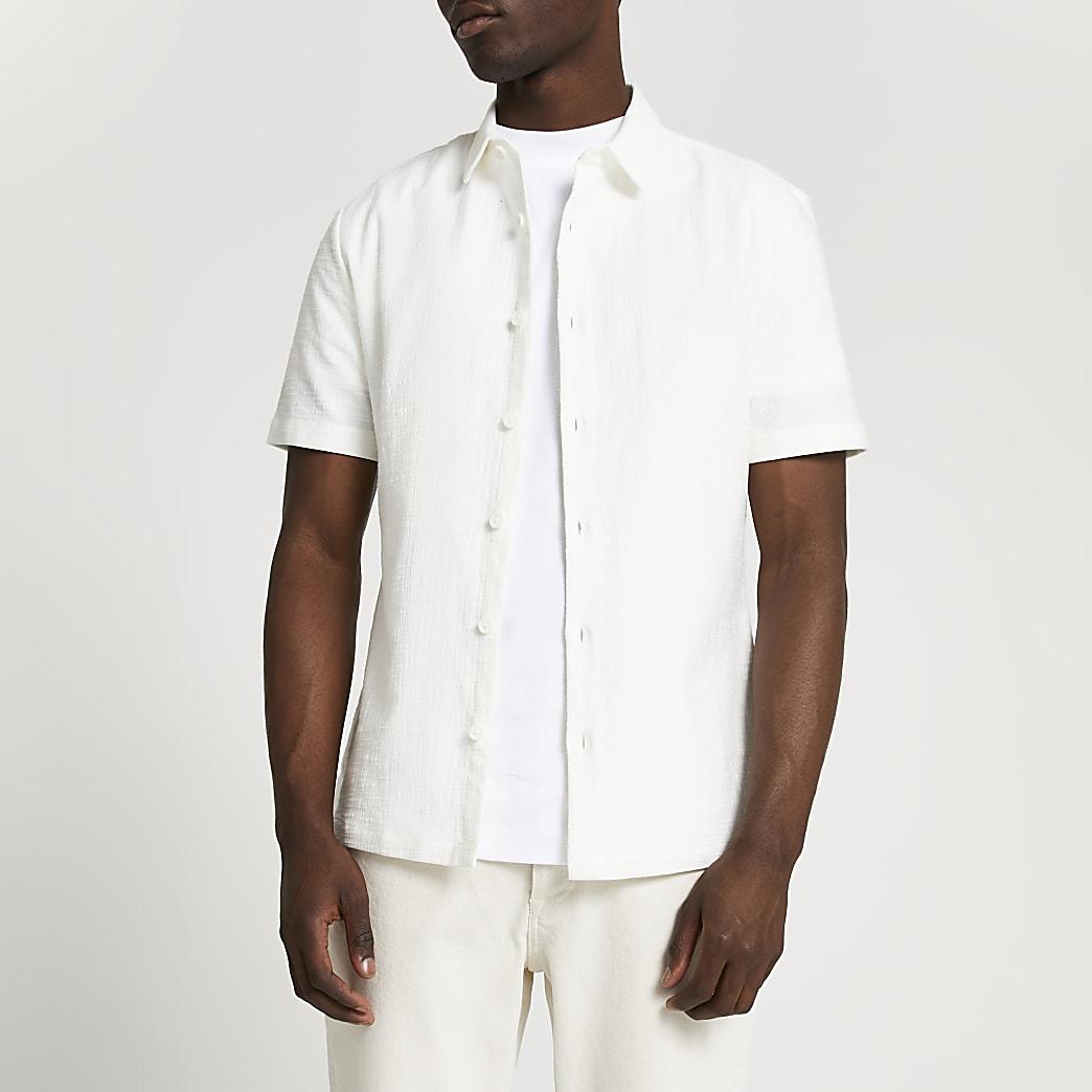 White textured short sleeve shirt
