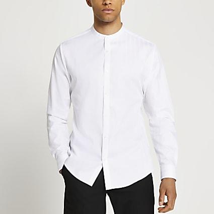 White textured slim fit grandad collar shirt